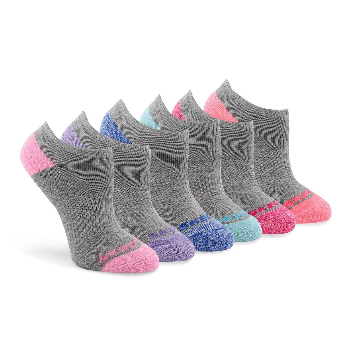 Girls NO SHOW FULL TERRY MED grey socks 6 pack