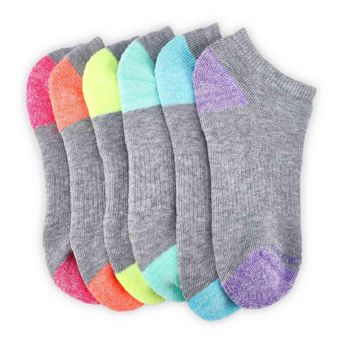 Girls' NO SHOW FULL TERRY MED grey socks - 6 pk