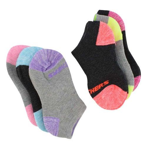 Grls NoShow FullTerry MED mlti sock 6pk