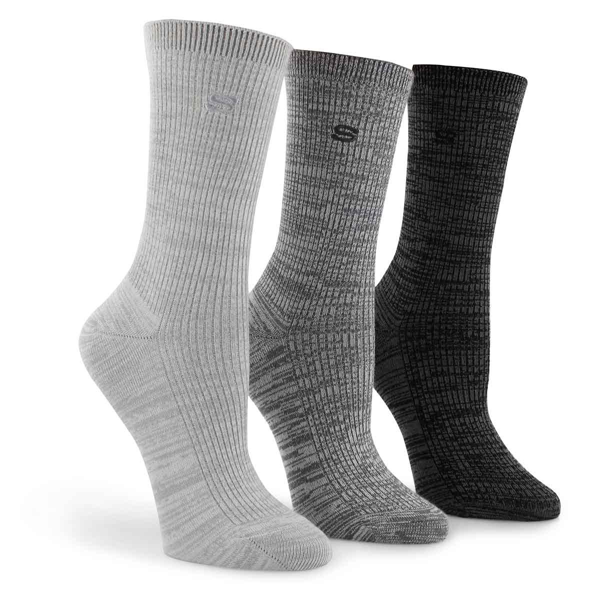 Women's NON TERRY CREW grey socks - 3 pack