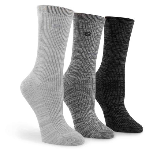 Lds Non Terry Crew grey 3pk
