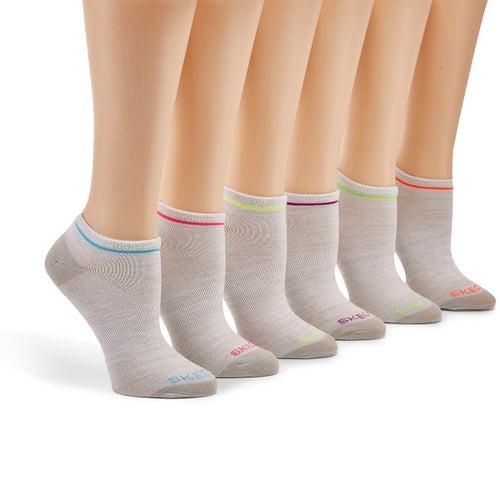 Lds Super Soft Low Cut gry/mlti sock 6pk
