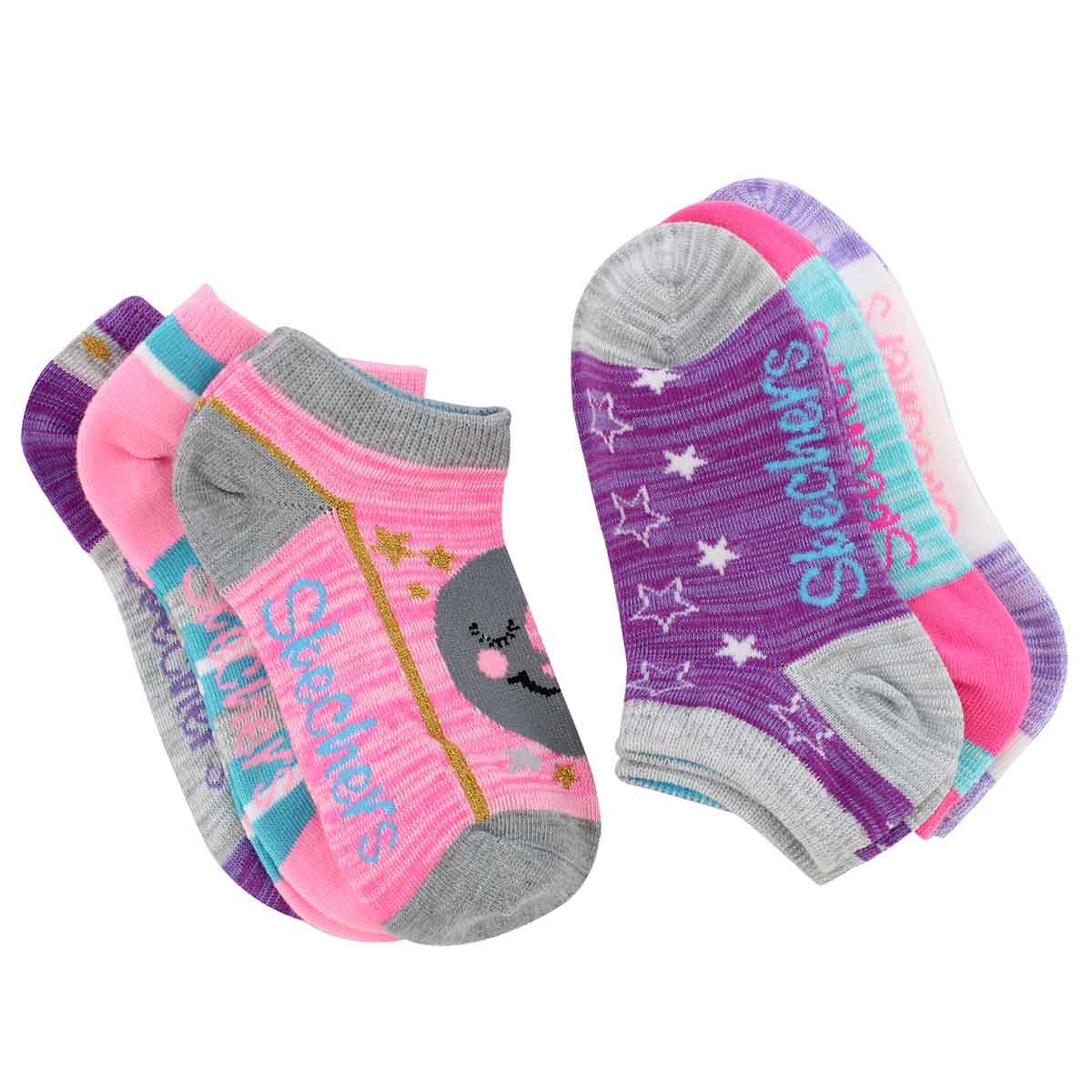 Grls Non Terry ppl/pnk mlti low sock 6pk