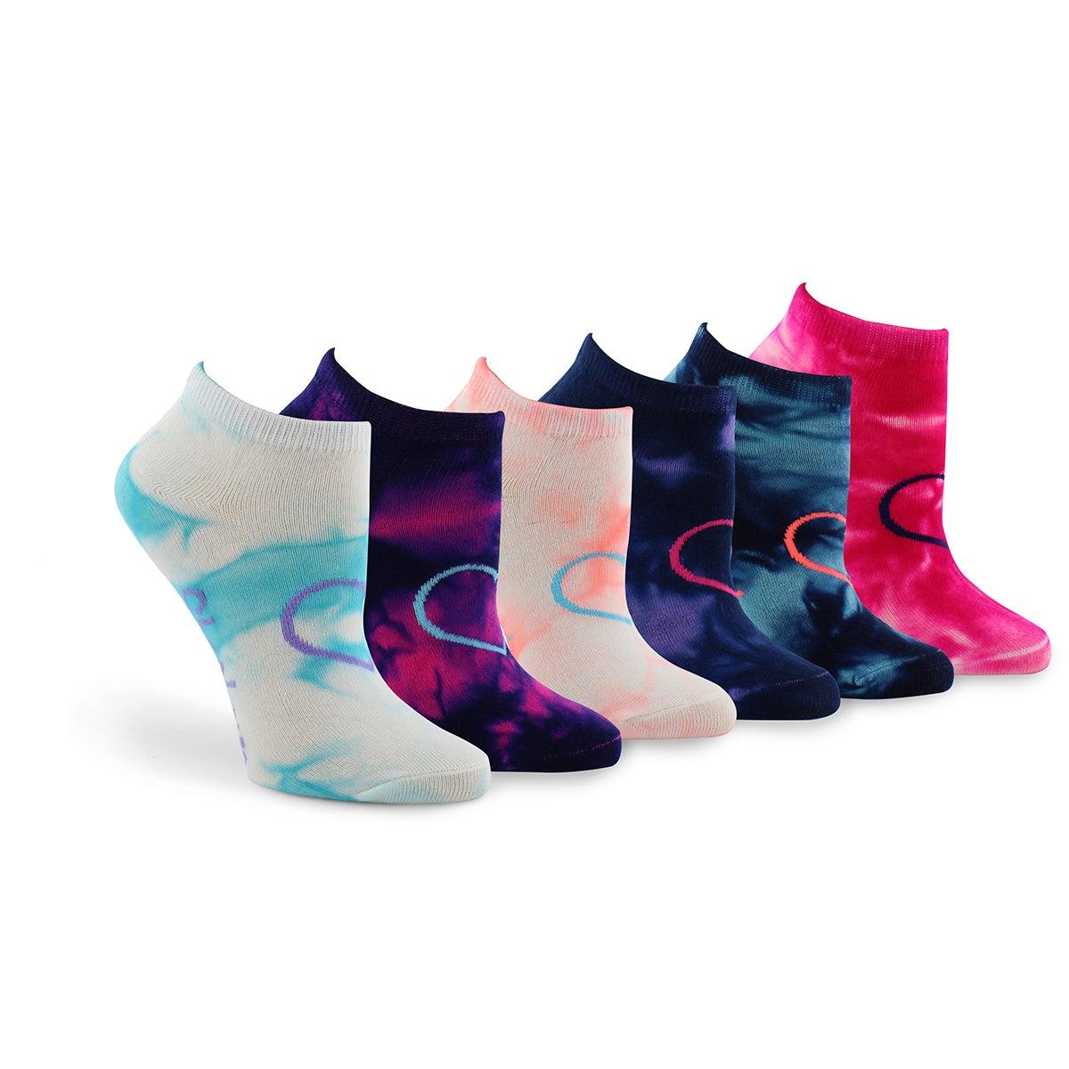 Grls Non Terry Tie Dye mlti low sock 6pk