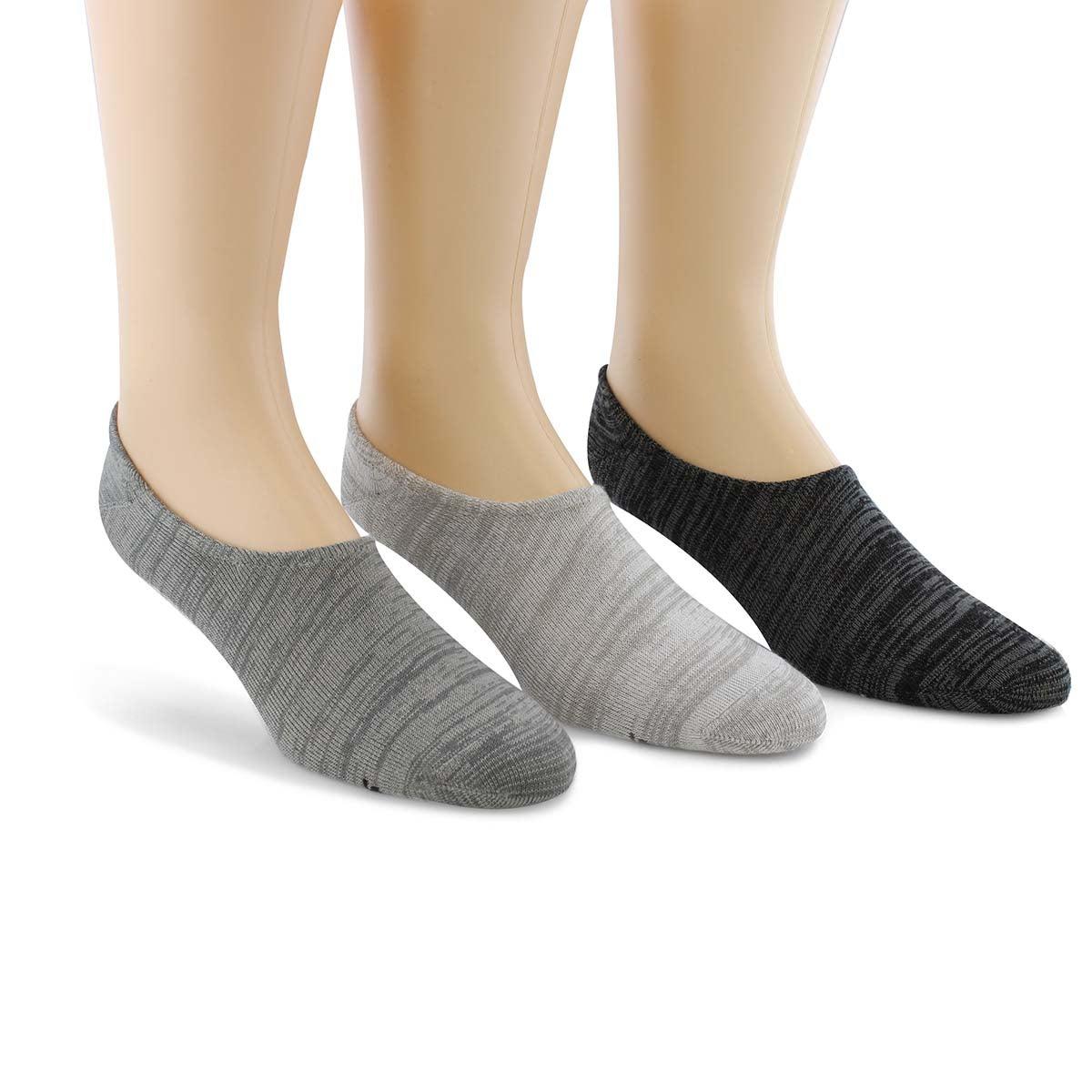 Socquette NON TERRY NO SHOW gris/mlti hom-3 paires