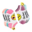Skechers Girls' LOW CUT NON TERRY EMOJI white sock 6 pack