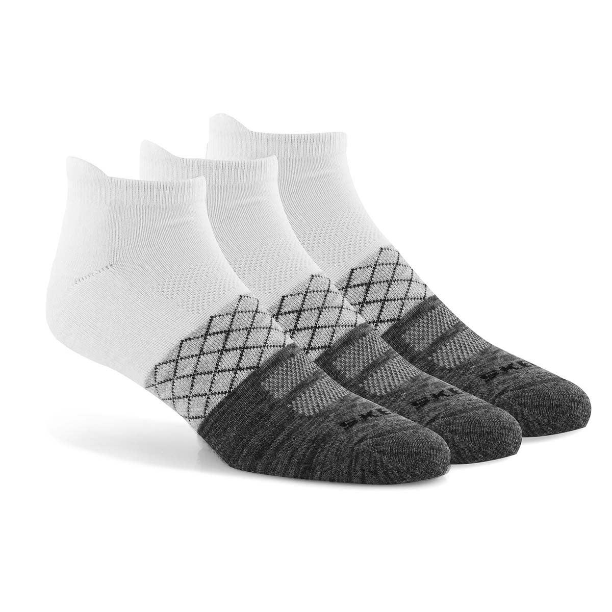 Men's LOW CUT HALF TERRY wht/ gry socks - 3 pk