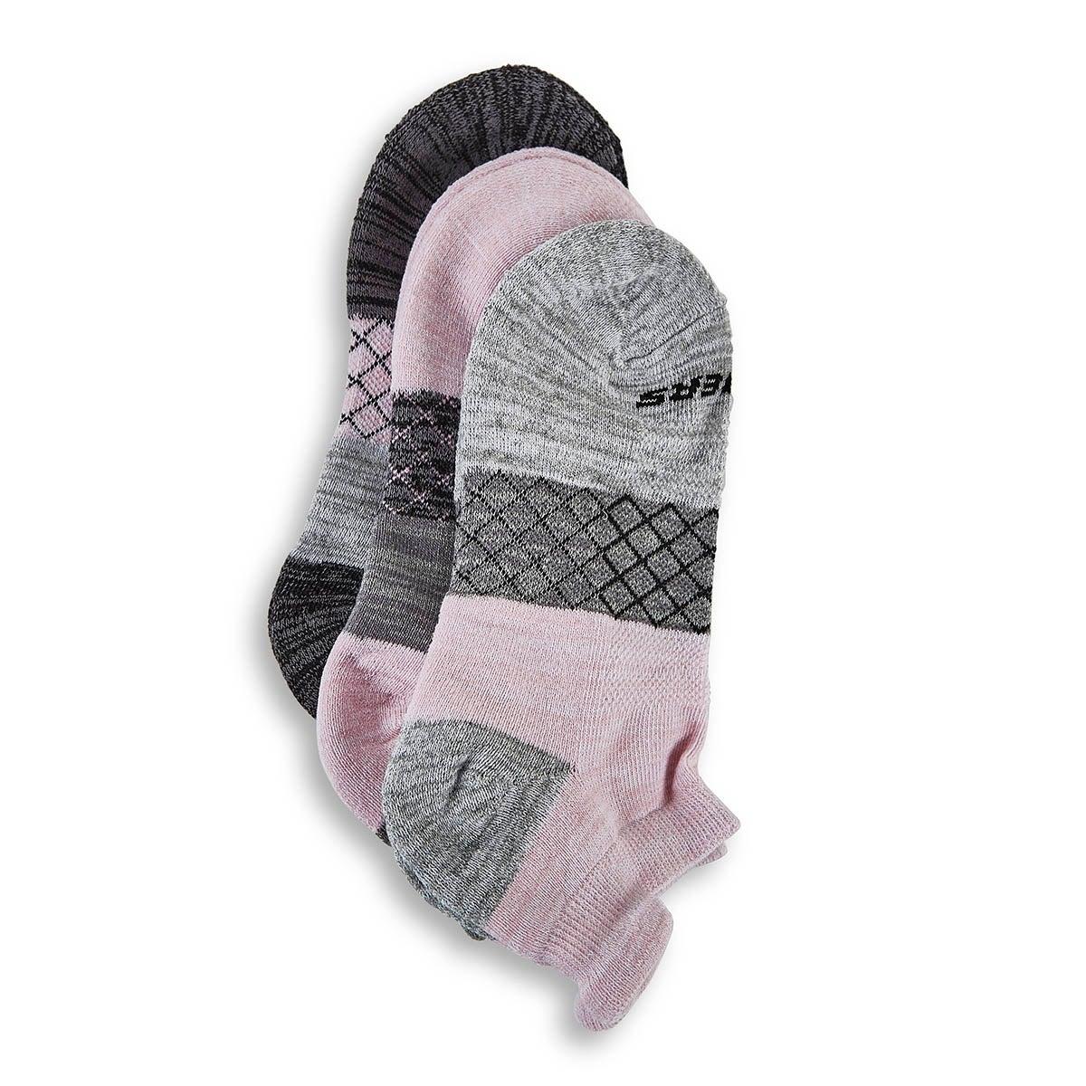 Women's HALF TERRY LOW CUT grey/pink socks -3pk