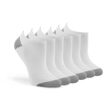 Women's NO SHOW TC Blend white ankle sock 6 pack