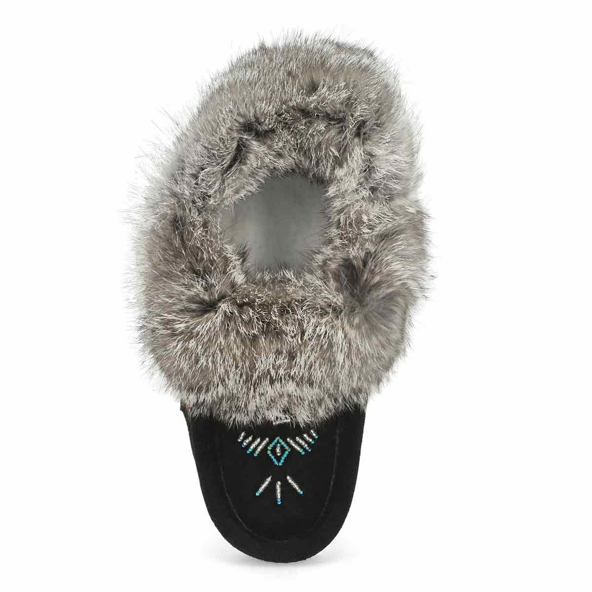 Women's SF600-BL Rabbit Fur Moccasin - Black/Grey
