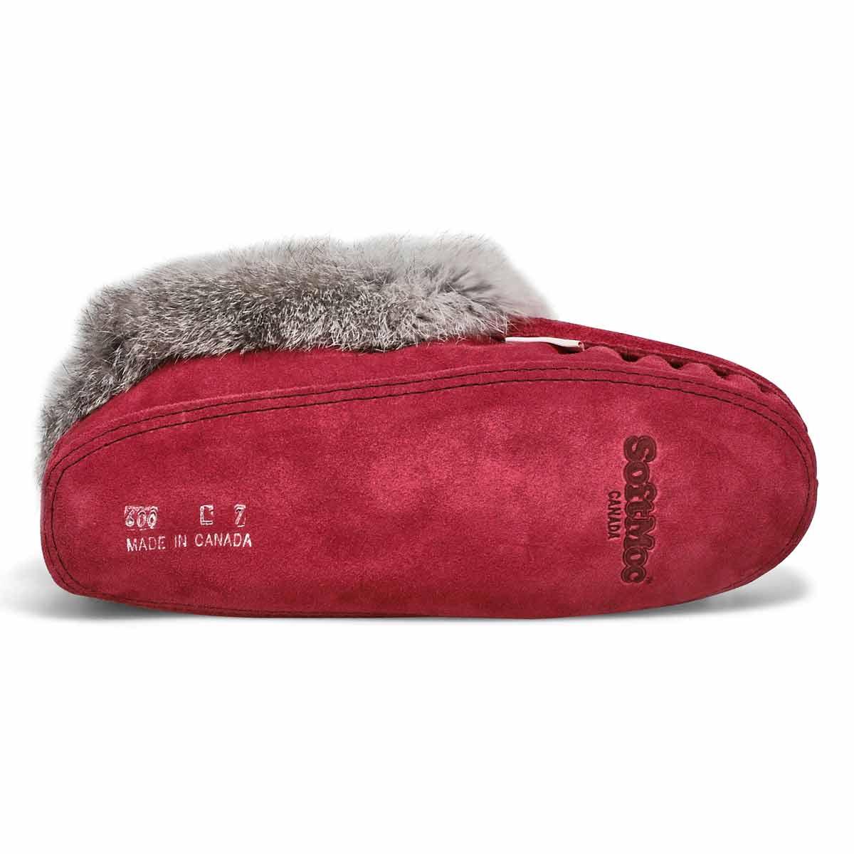 Women's SF600-BUL Rabbit Fur Moccasin - Burgandy