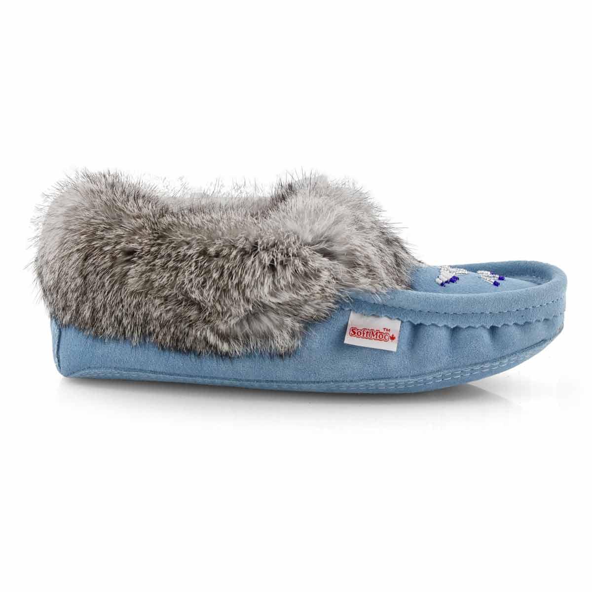 Women's SF600  Rabbit Fur Moccasin - Light Blue
