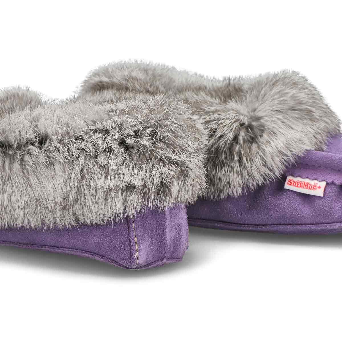 Women's SF600 Rabbit Fur Moccasin - Lavender