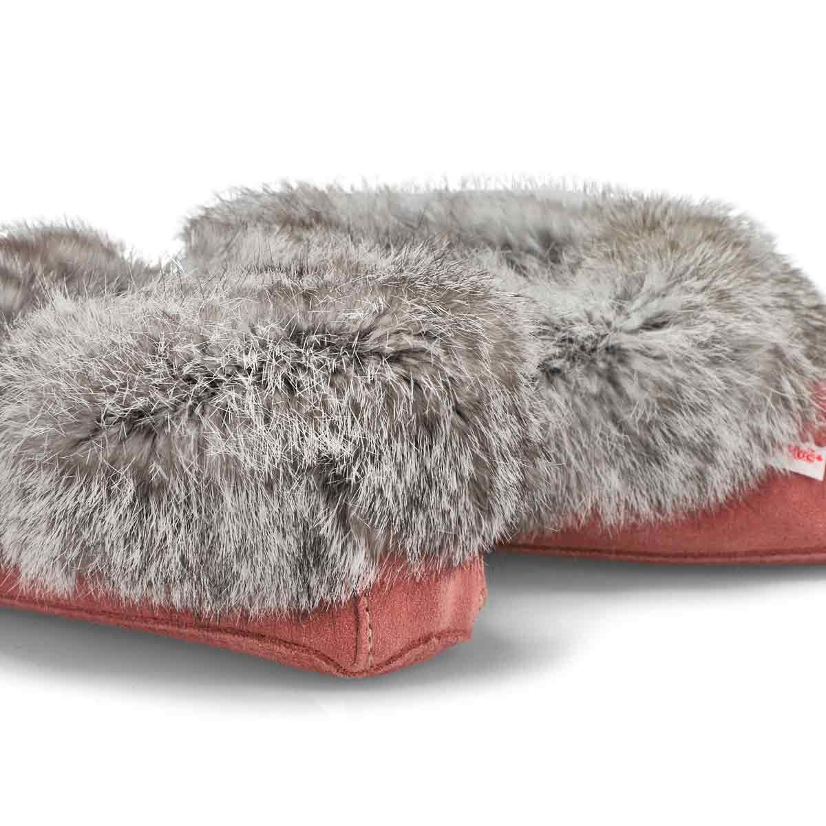 Women's SF600 Rabbit Fur Moccasin - Dusty Rose
