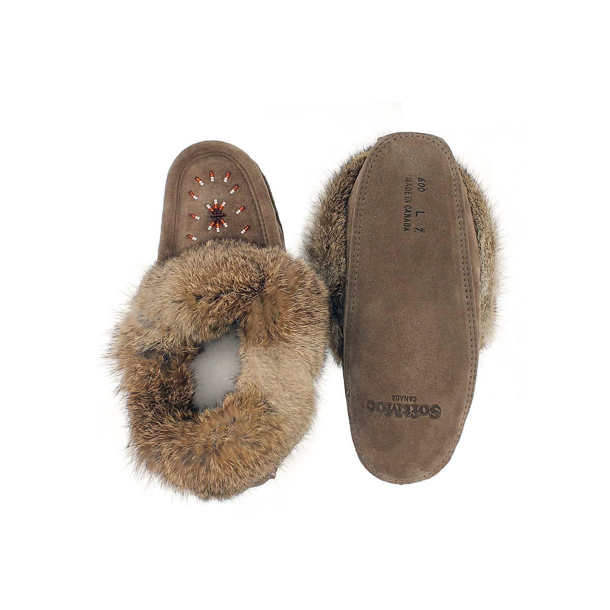 Women's SF600-SML Rabbit Fur Moccasin - Brown
