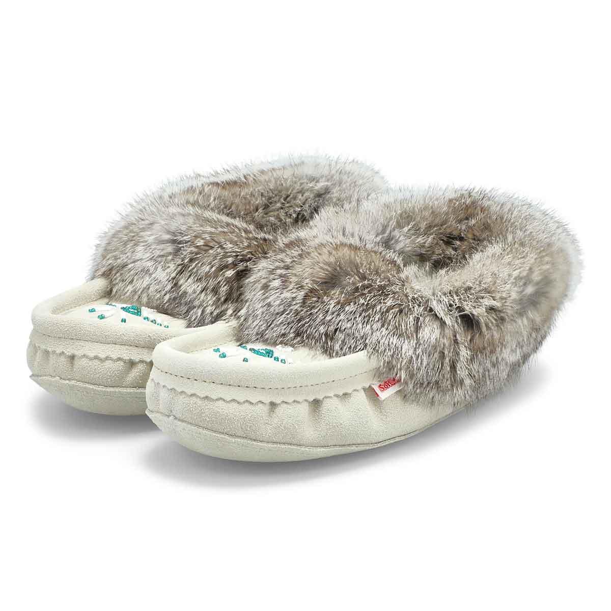 Women's SF652-IC Rabbit Fur Moccasin - Ice