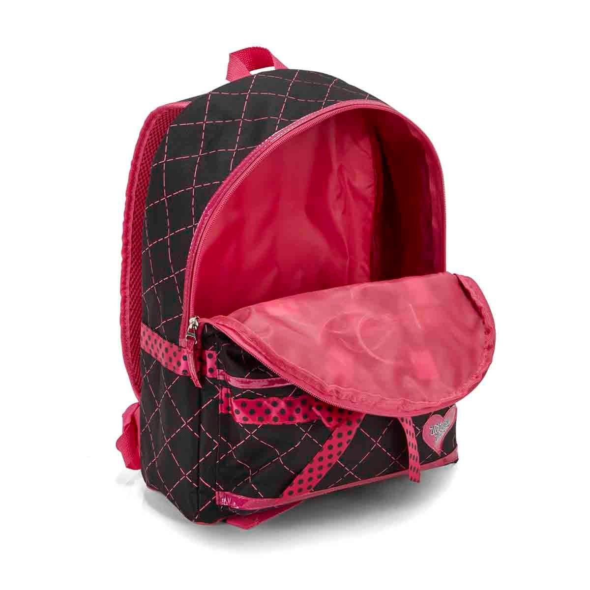 Girls DIAMOND QUILT black tiwnkle lightup backpack
