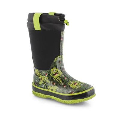 Boys' SLIMER black waterproof pull on winter boots