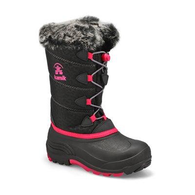 Grls Snowgypsy 3 blk/rose wp winter boot