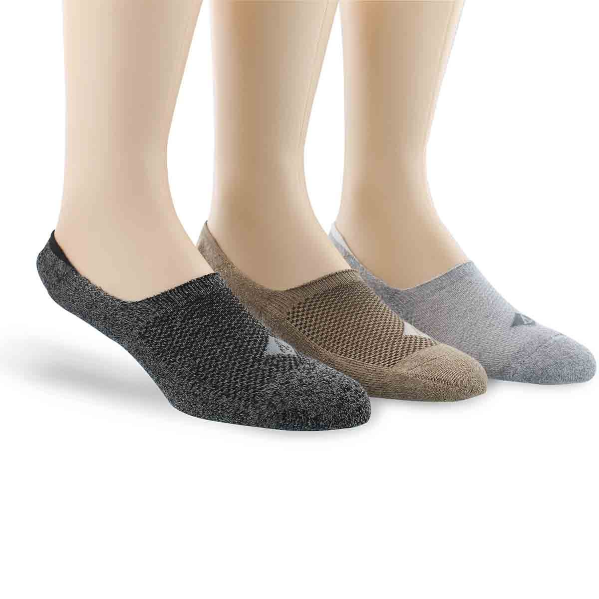Socquettes SOLID MARL, noir/brun/blc, hommes - 3p