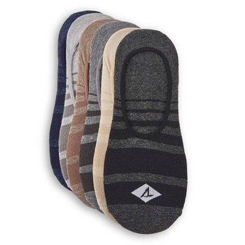 Men's SHADOW STRIPE blk hthr mlt socks -6 pk