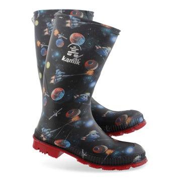 Women's STOMPSPACE blk/mlti waterproof rain boots