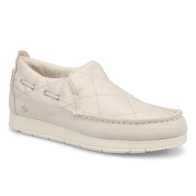 Lds Moc-Sider Nylon Casual Shoe- White
