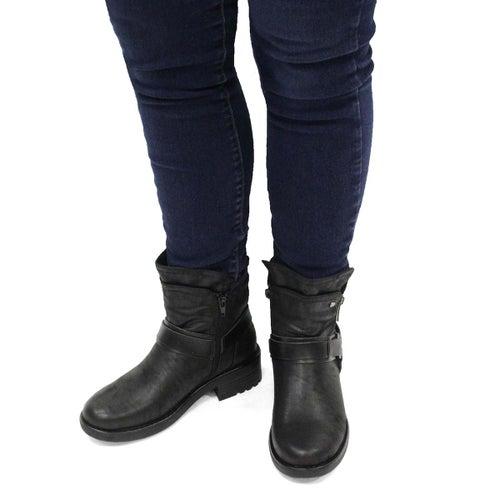 Lds Tambi black slip on combat boot