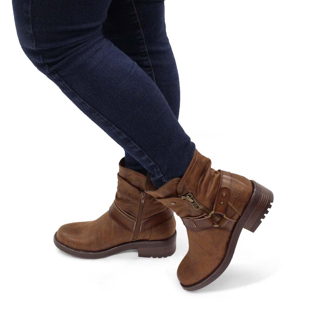 Women's TAMBI  tan slip on combat boots