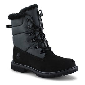 Lds Premium black wp lace up winter boot
