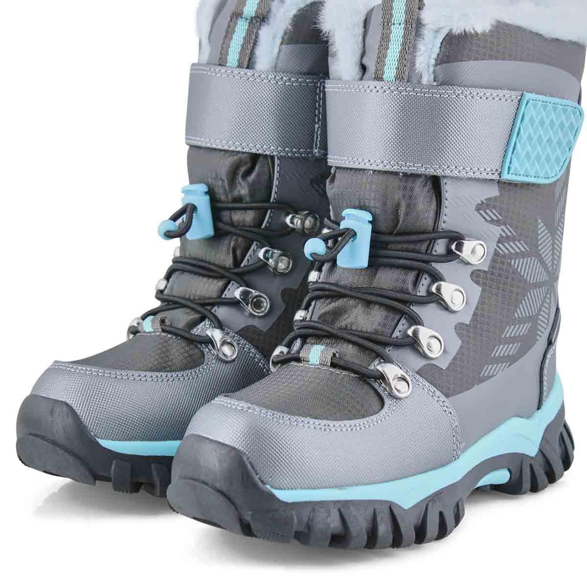 Girls' TOASTY pewter waterproof winter boots