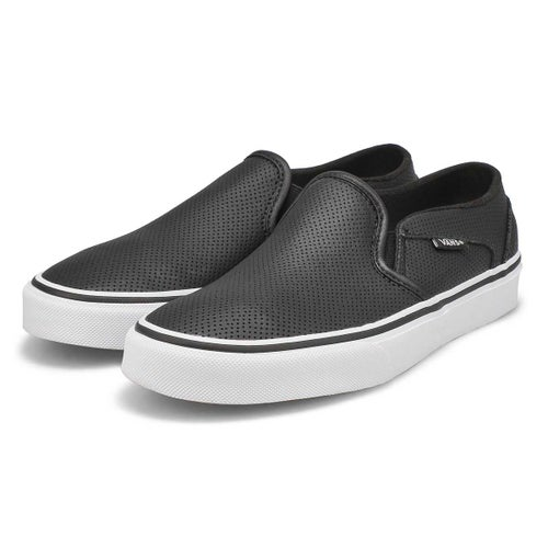 Lds Asher Perf Leather blk slip on snkr