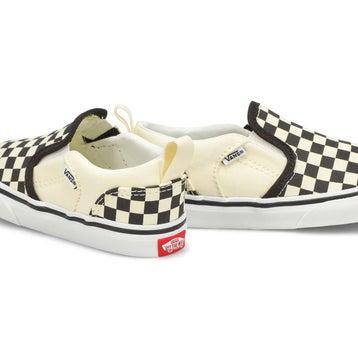 Infants' ASHER V checkered/nat slip on sneakers