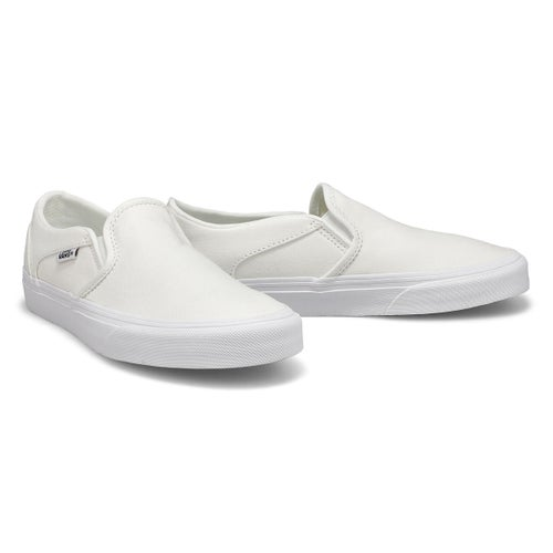 Lds Asher wht/wht slip on snkr