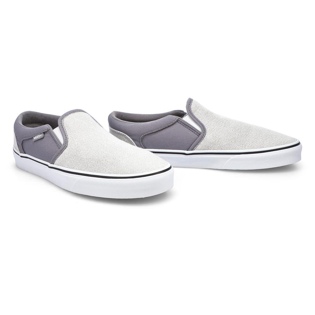 Men's Asher slip on sneaker -  Frost Gray/ White