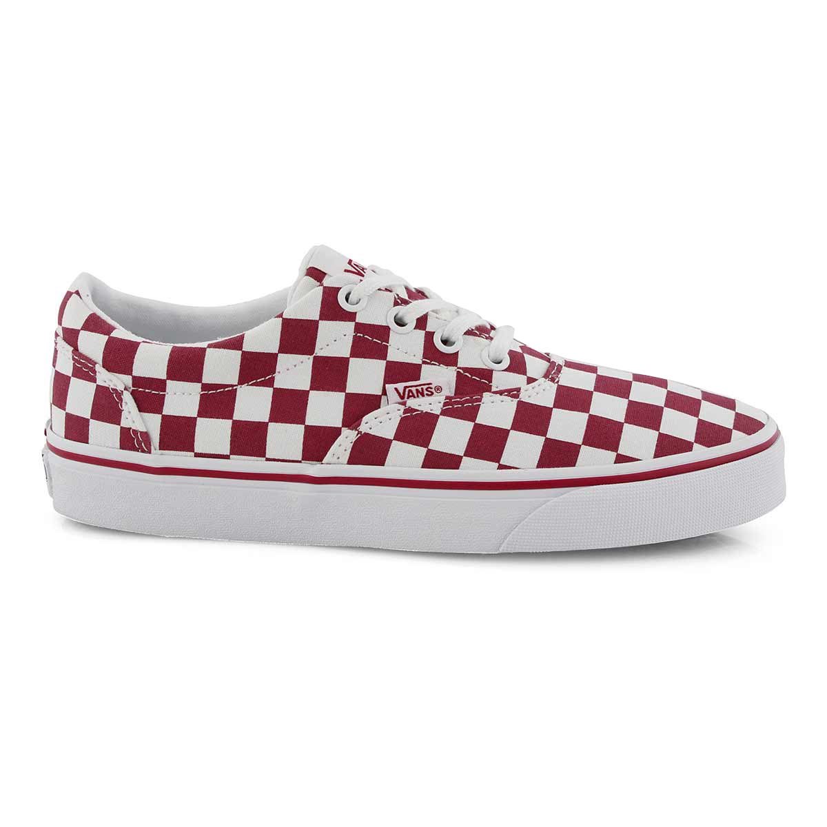 Women's DOHENY cerise/wht checkered sneakers