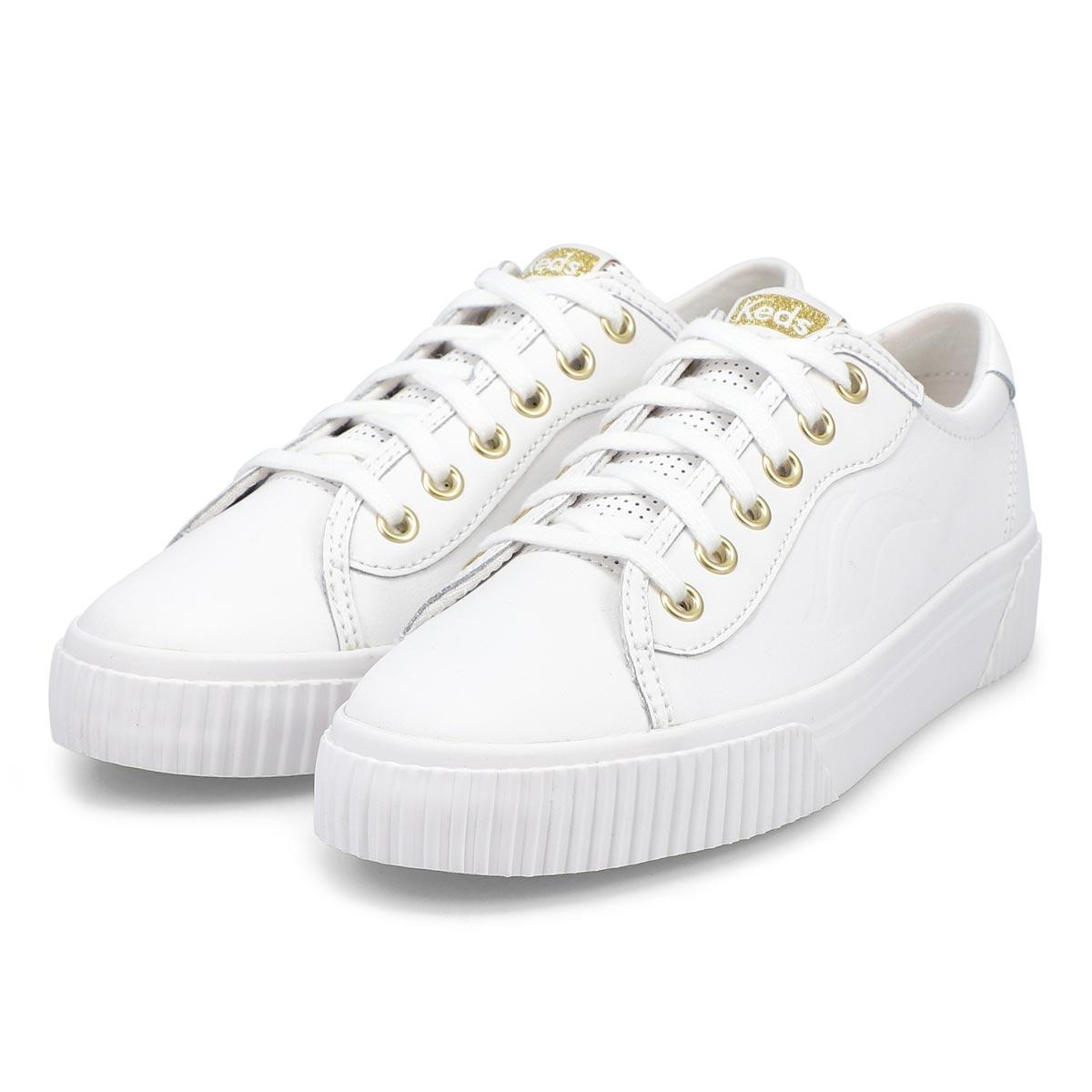 Women's Crew Kick Alto Leather Sneaker -White/Whte