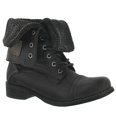 SoftMoc Women's BEV black lace up fold down combat boots