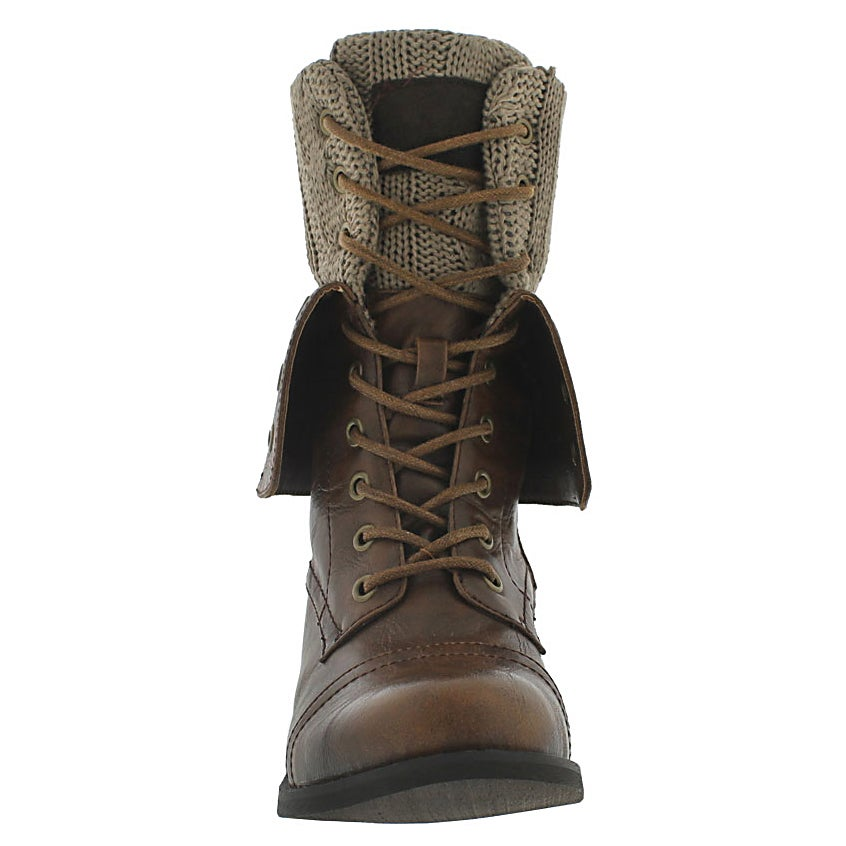 Lds Bev brn lace up fold dwn combat boot