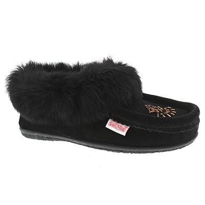SoftMoc Women's CUTE 3 black rabbit fur moccasins