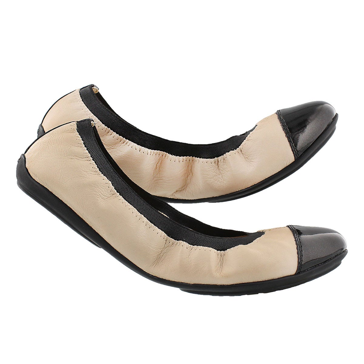 Lds Charlene skin/blk dress flat