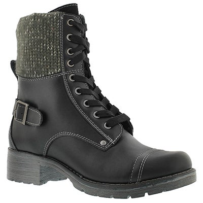 SoftMoc Women's DEEDEE black knit top combat boots
