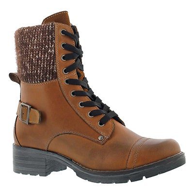SoftMoc Women's DEEDEE cognac knit top combat boots
