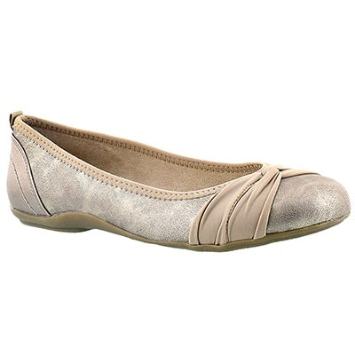 SoftMoc Women's EDITA rose gold shimmer memory foam flats