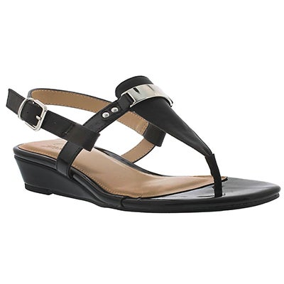 SoftMoc Women's ESTELLE black wedge thong sandals