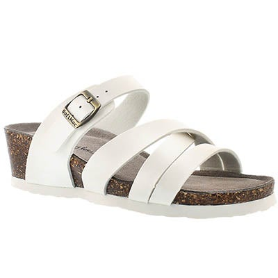 SoftMoc Women's GINNIE white memory foam wedge sandals