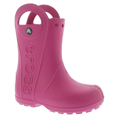 Crocs Girls' HANDLE IT fuchsia waterproof rain boots