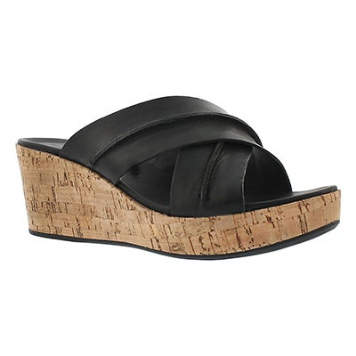 Hush Puppies Women's BELINDA DURANTE black wedge sandals