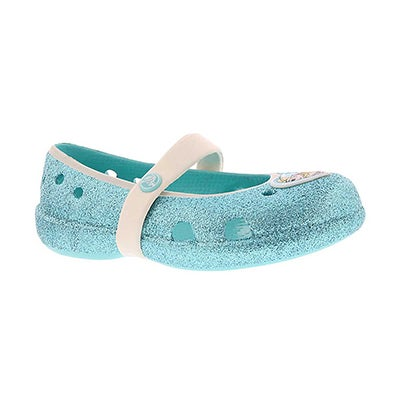 Crocs Girls' KEELEY FROZEN blue sparkle flats