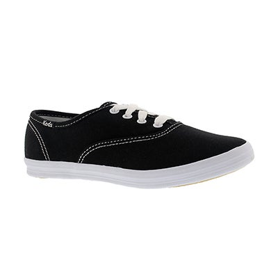 Keds Girls' CHAMPION CVO black/white canvas sneakers